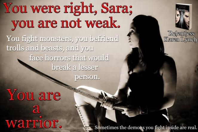 Sara holding sword